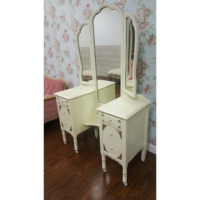 Victorian Ivory VanityMakeup Dresser With Gold Leaf Accents With Mirror For Sale In Providence - Image 6 of 8