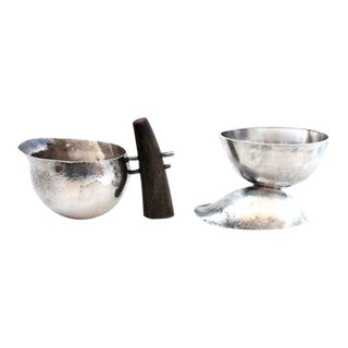 Sculptural Modernist Sterling Creamer and Sugar Bowl - Set of 2 For Sale