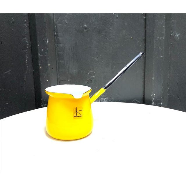 Metal 1960s Knobler Poland Yellow Enamel Pitcher Scool For Sale - Image 7 of 7