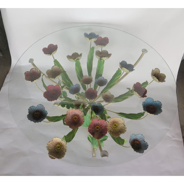 """Stunning wrought iron Italian Tole coffee table with multicolor"""" Poppy"""" motif. The well delineated flowers are in various..."""