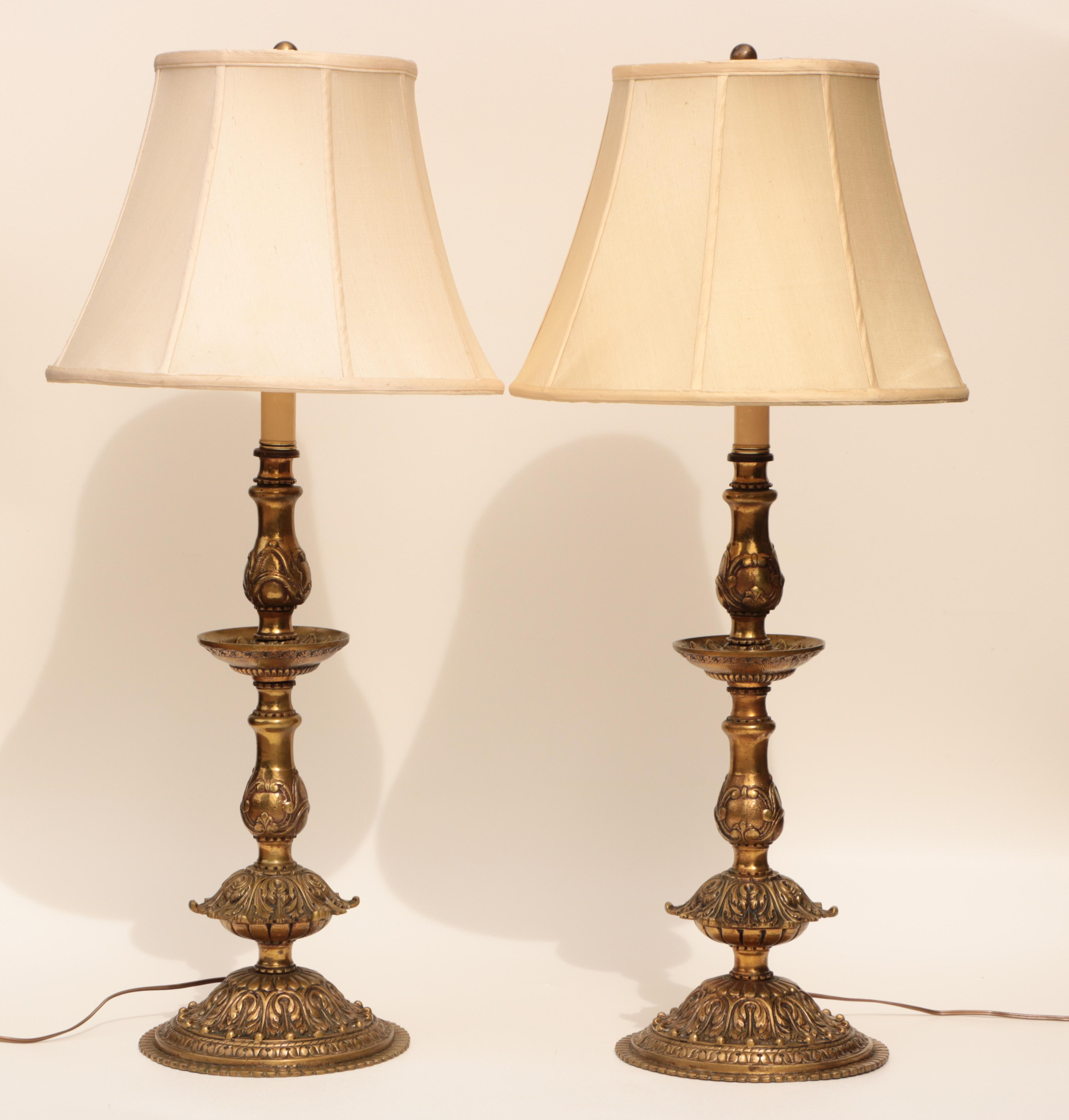 French doré bronze candlestick lamps a pair image 2 of 11