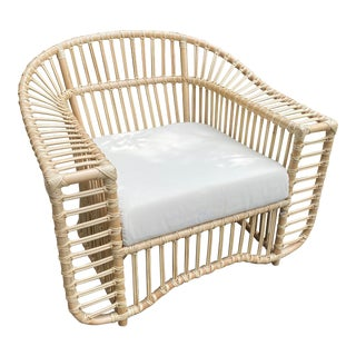 Rattan Club Chair Inspired by Henry Olko For Sale