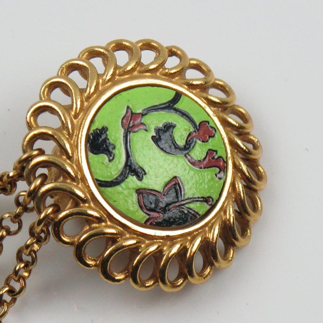 Metal Kenzo Paris Drop Dangling Floral Gilt Metal With Ceramic Clip on Earrings For Sale - Image 7 of 8