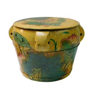 Chinese Round Lotus Flower Wood Container For Sale