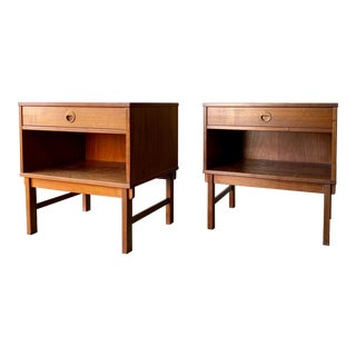 Mid Century Modern Teak Nightstands End Tables by Dux of Sweden, Folke Ohlsson - a Pair For Sale