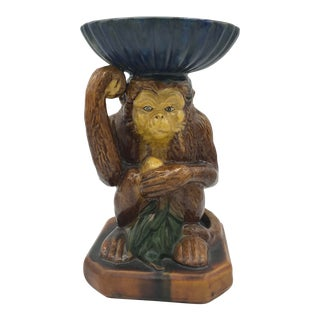 Vintage Italian Ceramic Monkey Dish Plant Stand For Sale