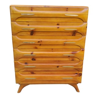 1950s Franklin Shockey Sculpted Pine Chest Of Drawers For Sale
