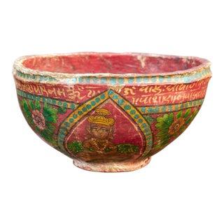 Santan Antique Papier Maché Bowl For Sale
