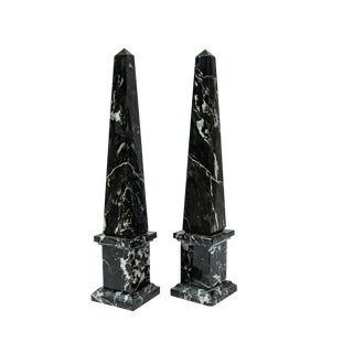 Italian Black Veined Marble Obelisks - A Pair For Sale