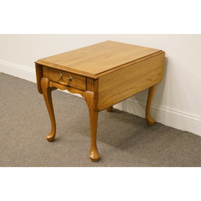 French Country 20th Century French Country Mersman Solid Oak Drop Leaf Accent End Table For Sale - Image 3 of 13