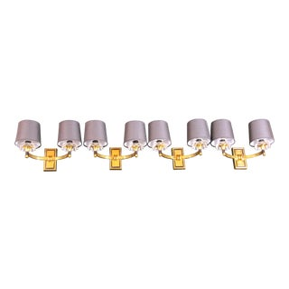 Mid 20th Century Jacques Adnet Brass Sconces for Maison Arlus, France - Set of 4 For Sale