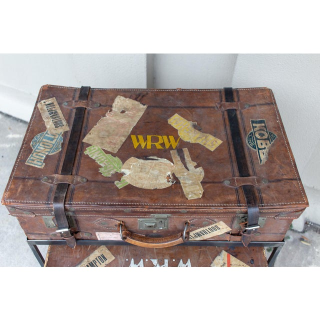Animal Skin Pair of Antique English Luggage Nesting Tables For Sale - Image 7 of 13