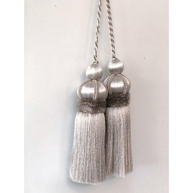 """Pair of Silver Key Tassels With Cut Ruche - 5.75"""" For Sale - Image 9 of 11"""