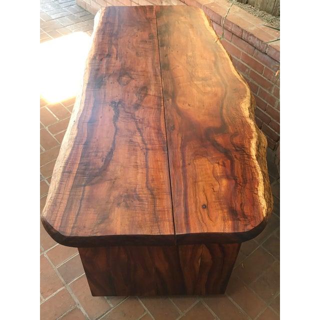 1970s Primitive Wood Slab Executive Desk For Sale - Image 4 of 10