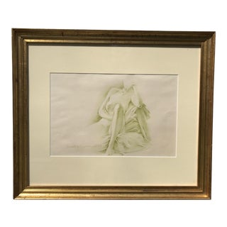 1970s Vintage Nude Woman Graphite Drawing For Sale