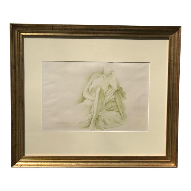 Robert Ralph Carmichael 1970s Vintage Nude Woman Graphite Drawing For Sale