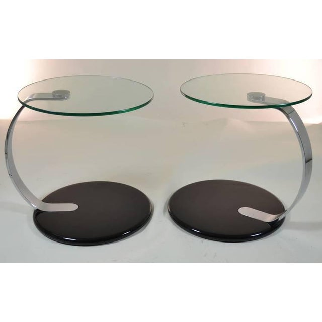 Pair of Modernist Chrome and Glass Tables - Image 2 of 10