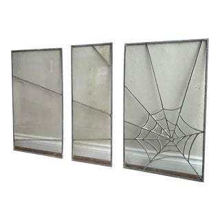 1930s Arts and Crafts Stained Glass Leaded Spiders Web Panels - 3 Pieces For Sale