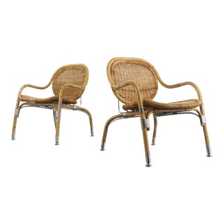 Very Rare Pair of Mats Theselius Rattan and Steel Armchairs For Sale