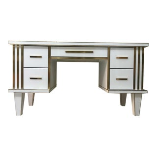 White Glass & Mirrored Desk With Brass, Commode Vanity, Chest of Drawers For Sale