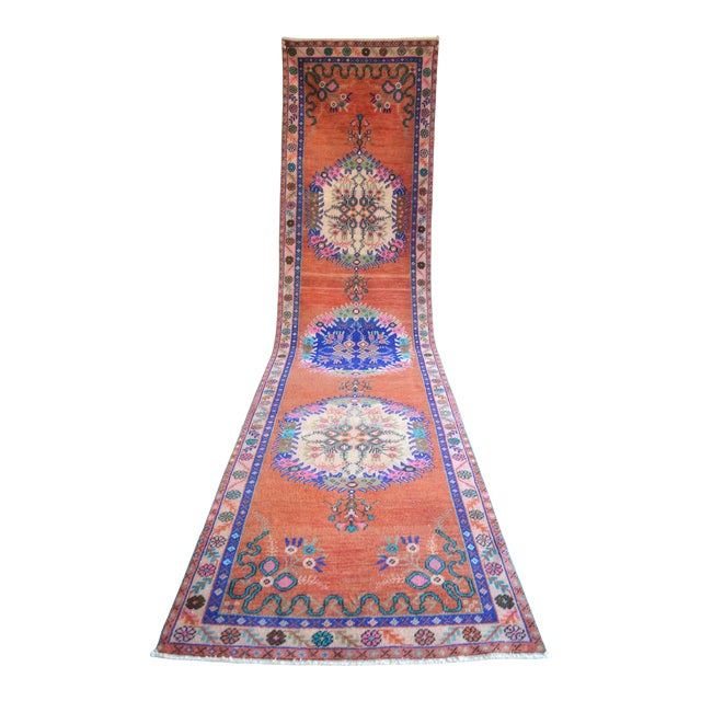 """Oushak Runner Rug Turkish Hand Knotted Distressed Hallway Rug - 3'1"""" X 12'7"""" For Sale"""