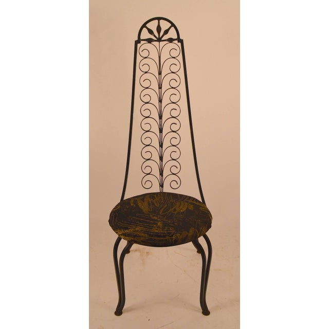Sinuous form, highback wrought iron side chair in the Spanish style. Iron work after Umanoff.