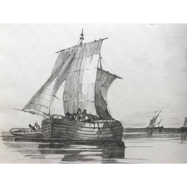 French 19th Century French Graphite Drawing of Ships For Sale - Image 3 of 4