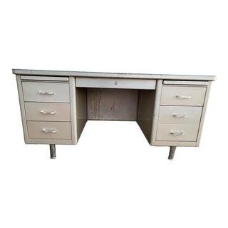 Vintage Steelcase Metal Desk With Overhang For Sale