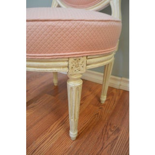 Louis XVI Style Painted Boudoir Chairs Newly Upholsted in a Pink Fabric - a Pair Preview