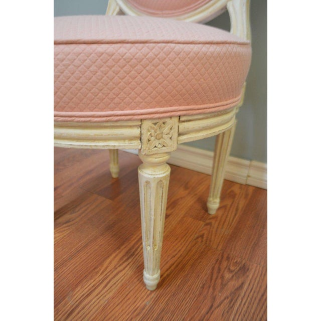 Charming pair of Louis XVI style boudoir or also called fireside chairs in France as the were place in front of the...