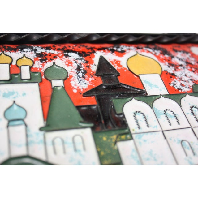 1970s Vintage Russian Enamel on Copper Cityscape For Sale - Image 5 of 13