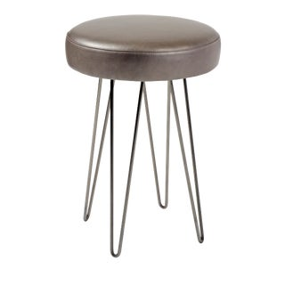 Mushroom Leather Hairpin Counter Stool For Sale