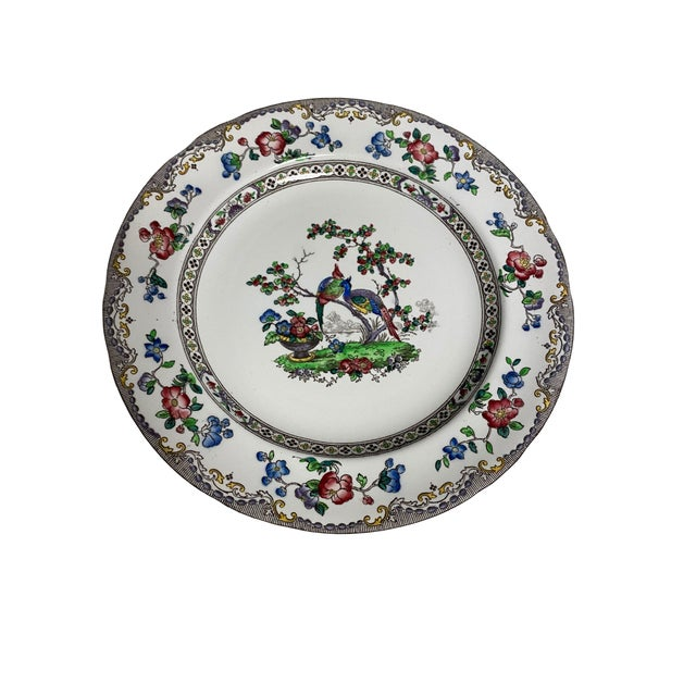 A handsome pair of Copeland Spode Bird and Border plates with a black outer scalloped edge and with birds and flowers with...