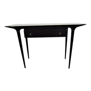 Lane Mid Century Modern Black Lacquered Console Table For Sale