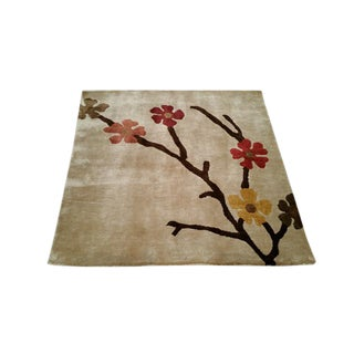 Modern Fine Silk Handmade Knotted Rug - 3x3 For Sale