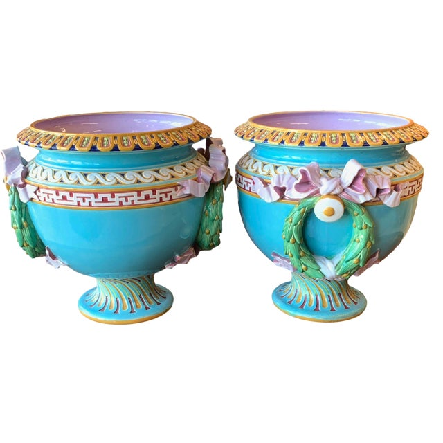 Antique Minton Majolica Urns - a Pair For Sale - Image 13 of 13