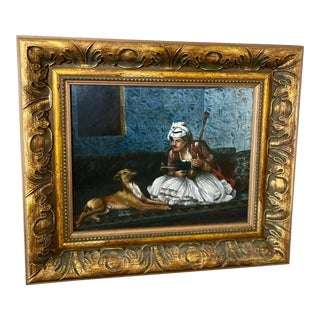 1950s Vintage Framed Oil Painting of Persian Man With Dog For Sale
