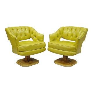 Mid-Century Modern Silver Craft Green Yellow Swivel Club Lounge Chairs - a Pair