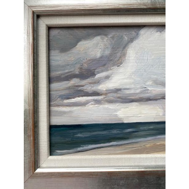 Coro Original Seascape Painting in Silver Wood Frame For Sale - Image 4 of 4