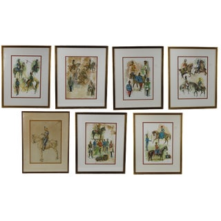Pasargad DC Vintage Turkish Ottomon Janissary Soldier Paintings -Set of 7 For Sale