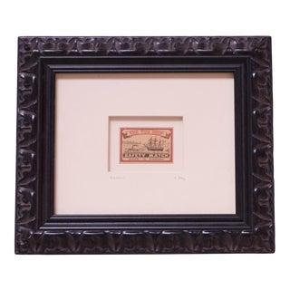 "1940s Swedish Framed ""Tug Ship Safety Match"" Box Label For Sale"