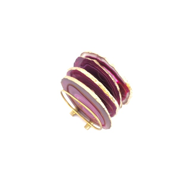 Gold Trim Magenta Hot Pink Agate Slice Coasters & Caddy | High Quality Natural Brazilian Sliced Agate | Set of 4 For Sale - Image 11 of 13