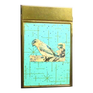 Mid Century Brass Decorative Bird Note Pad Holder For Sale