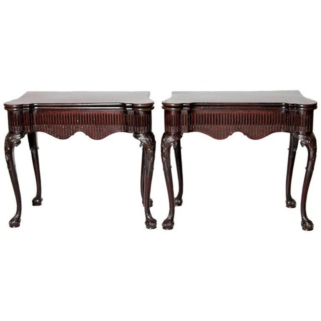 Pair of Irish Chippendale Carved Mahogany Concertina Card Tables For Sale - Image 12 of 12