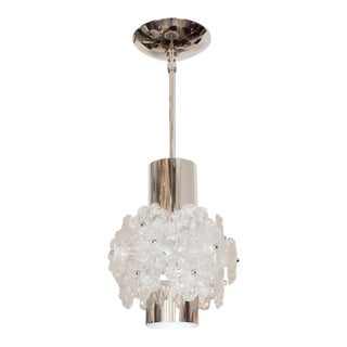 Nickel Pendant Fixture With Lucite Flower Clusters For Sale