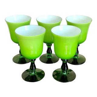 Mid Century Carlo Moretti Green White Cased Wine Glasses- Set of 5 For Sale