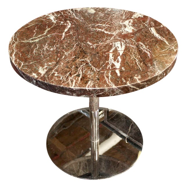 Vintage Zographos Maroon Marble Top Side Table - Image 1 of 5