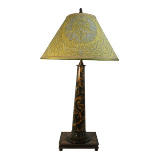 Green and Gold Hand Painted Wood Base Lamp With Fortuny Shade For Sale
