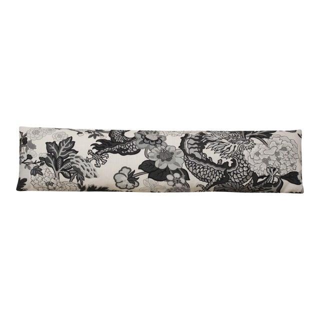 Long Lumbar Pillow in Scalamandré Chiang Mai Dragon 100% Linen For Sale