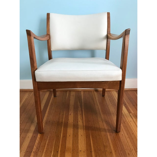 Stunning mid-century Johnson Chair Co. (Chicago) walnut arm chairs refurbished and cleaned to bring the wood and white...